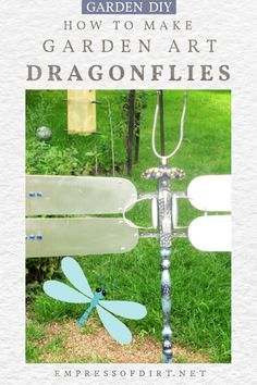 Turn an old ceiling fan into a whimsical garden art dragonfly. Thrift Shop Finds, Mosaic Garden Art, Fan Blades, Repurposed Items, Kitchen Utensils, Step By Step Instructions, Dollar Stores, Diy Tutorial, Creative Art