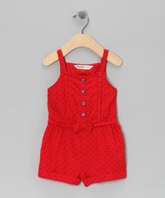 Take a look at this Red & Blue Polka Dot Romper - Infant, Toddler &… Baby Outfits, Cute Little Girls Outfits, Outfits Niños, Baby Girl Dresses, Toddler Outfits, Baby Dress, Kids Outfits, Fashion Kids, Toddler Fashion