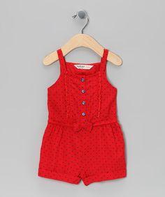 Beebay Red & Blue Polka Dot Romper - Infant, Toddler & Girls