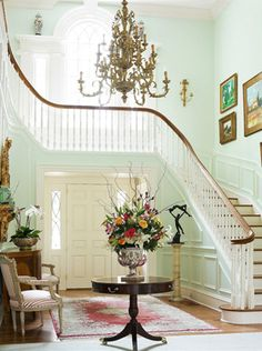Architectural Styles: Georgian home with a curved staircase and mint green walls, along with the foyer and the chandelier. House Design, House, Home, Georgian Homes, Georgian Interiors, Beautiful Interiors, Curved Staircase, Beautiful Homes, Stairs