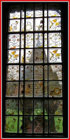 Red House (a Grade I Listed Building), Bexleyheath ~ one of the Stain Glass Windows in the Ground-Floor Corridor