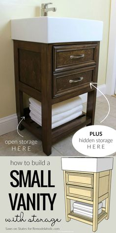 VIDEO: How To Build A Small Bathroom Vanity To Fit An Ikea Sink, With Open And Hidden Storage @Remodelaholic #bathroomvanity #buildavanity #smallvanity Bathroom Vanity Storage, Bathroom Sink Cabinets, Small Bathroom Vanities, Small Vanity, Diy Bathroom Decor, Simple Bathroom, Bathroom Ideas, Inexpensive Bathroom Vanity, Kmart Bathroom
