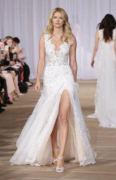 Elegant Lace Wedding Dresses 2016 Latest Thigh High Split Custom Made Sheath Wedding Bridal Gowns V Neck Sleeveless Sweep Train Online with $155.65/Piece on Marrysa's Store | DHgate.com