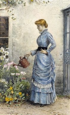 George Goodwin Kilburne (British, 1839 – 1924) - Watering the Flowers