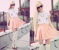 Diy Cat Eye Pearl Sunglasses, Wildfox Couture Artemis Sailor Moon Cat Tee, American Apparel Chiffon Skirt, American Apparel Over The Knee Socks, Vintage Pumps
