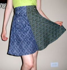 A cute springy skirt made from the sleeves of two old men's button-downs. Recycle a shirt into a skirt in under 120 minutes by dressmaking with thread and shirt. Diy Buttons, How To Make Buttons, Diy Clothing, Sewing Clothes, Sewing Men, How To Make Skirt, Shirt Skirt, Cute Skirts, Diy Dress