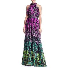 Marchesa Notte Floral Halter Floor-Length Gown ($1,095) ❤ liked on Polyvore featuring dresses, gowns, floor length evening gown, embroidered dress, floral ball gown, floral evening gown and embroidery dresses