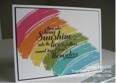 Sunshine and Rainbows Melon Mambo, Pumpkin Pie, Daffodil Delight, Old Olive, Bermuda Bay and Tempting Turquoise with black StazOn ink.