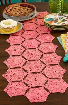 """Flower and Fan Table Runner Free Crochet Pattern from Aunt Lydia's Crochet Thread"" --> ADORABLE"