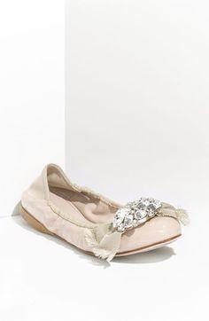 Miu Miu Crystal Bow Ballerina Flats.