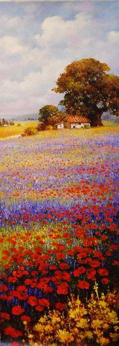 """Tuscany Fields"" 36 x 12 oil on canvas by Paul Guy Gantner"