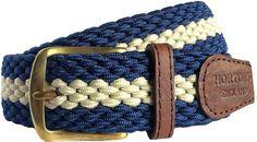Men's Woven Stretch Belt - Navy & Cream Stripe