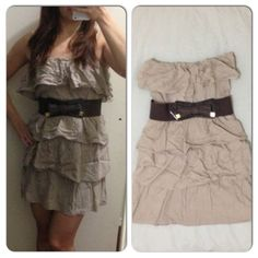 Love Culture ruffle dress with belt Love Culture strapless ruffle dress with detachable belt. Banded at top and waist. Has belt loops at side and inner lining. Love Culture Dresses