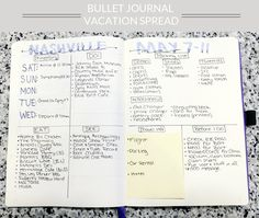 Bullet Journal Vacation Planning