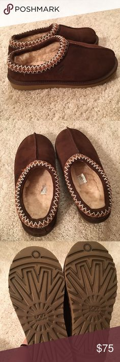 BRAND NEW Ugg Tasman Slipper Chocolate Brown Brand new and never worn Ugg Tasman slippers/shoes/moccasins in Women's size 8. Chocolate brown color. I bought these but decided to get them in a different color, and it is too late to return. Perfect condition! UGG Shoes Slippers