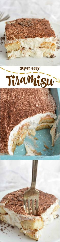 Super Easy Tiramisu Recipe is perfect for any occasion -- Ladyfingers soaked in Baileys and coffee then layered with mascarpone whipped cream. It will be your new favorite no-bake dessert! No Bake Desserts, Easy Desserts, Delicious Desserts, Yummy Food, Sweet Recipes, Cake Recipes, Dessert Recipes, Easy Tiramisu Recipe, Yummy Treats