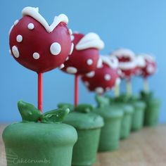 Truffle Pops That Look Like Piranha Plants From 'Super Mario Bros.' | I have no idea if this would be tasty, but it just looks so awesome