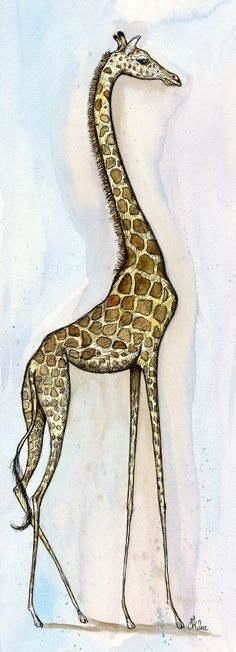 Little Long Legs  Giraffe Art Print by AlmostAnAngel66 on Etsy, £20.00