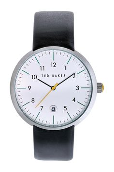 Men's Round Dial Leather Strap Watch by Ted Baker London on @nordstrom_rack
