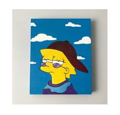 Lisa Simpson Painting by Emily Bennett - Emily Smiles Shop Artwork - . - Lisa Simpson Painting by Emily Bennett – Emily Smiles Shop Artwork – - Simple Canvas Paintings, Easy Canvas Art, Small Canvas Art, Mini Canvas Art, Cute Paintings, Easy Canvas Painting, Easy Art, Diy Canvas, Cavas Painting