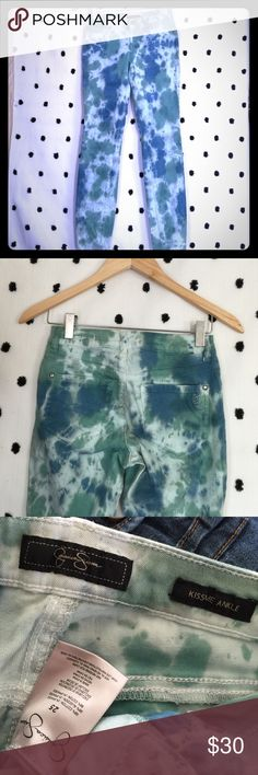 Jessica Simpson kiss me ankle jeans I am in love with these! So fun!! Shades of green and blue. Great condition. Jessica Simpson Pants Ankle & Cropped