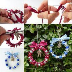 DIY Bead and Ribbon Wreath Ornament for Christmas-> http://wonderfuldiy.com/wonderful-diy-bead-and-ribbon-wreath-ornament-for-christmas/