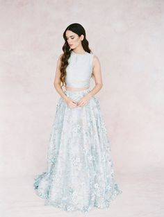 Dusty Blue lace wedding skirt 'IRIS' -silk and lace bridal skirt-bridal separates-bridal skirt with train-two piece wedding dress Tulle Wedding Skirt, Bridal Skirts, Blue Wedding Dresses, Wedding Dress Trends, Wedding Gowns, Lace Wedding, Wedding Blog, Bridal Tops, Bridal Lace
