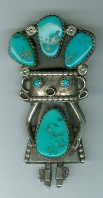 .HTF Old Pawn Signed M O Navajo Kachina Doll Figure Sterling Turquoise Brooch Pin