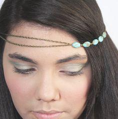 Chain Headpiece Headband  Hair PieceBohemian  Hipster Boho Hippie Bronze Turquoise Bridal Statement Jewelry on Etsy, $12.00