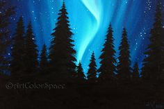 Christmas SALE 20% OFF Northern lights painting by ArtColorSpace