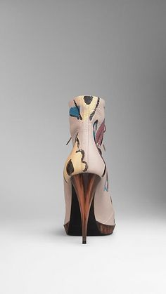 Stone blue Hand-Painted Leather Ankle Boots - Image 2