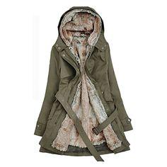 Sudadera con capucha gruesa Parka con cinturón Abrigo de invierno de las mujeres – CLP $ 28.419