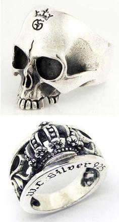 Chrome Hearts / www.chromehearts.com/ Skull Jewelry, Gothic Jewelry, Heart Jewelry, Jewelry Rings, Jewelery, Jewelry Accessories, Jewelry Design, Chrome Hearts Ring, Mens Skull Rings