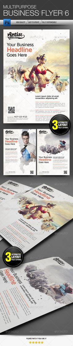 """Multipurpose Business Flyer 6 #GraphicRiver Multipurpose business flyer suitable for corporate, college, and other business It's just easily edit to fit your needs. Colour : CMYK Files : .PSD Size : 8.27"""" x 11.69"""" / 300dpi (A4) Each design has a Smart objects image (for PSD) with easily to change the image and one smart object for the logo, so you can change the logo easily Fully layered for PSD format, with 3 PSD alternative layout Editable text Smart object layer to edit images Photos in…"""