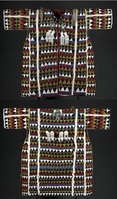 "Yoruba bead work Beaded Tunic (Agbada Ileke) Front  and Back    42"" x 48"" x 5""     19th Century   Purely Inspiration"