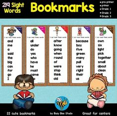 Sight Word Bookmarks