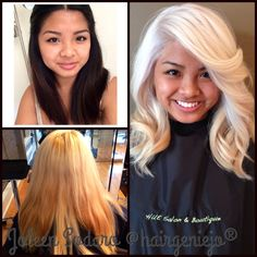 This client came to Salon Manager Joleen Sodaro at Hue Salon & Boutique after four failed attempts to lighten her own hair. Before lightening she was a natural level two with previously colored hair. Now, she's a proud level 10 platinum blonde! Platinum Blonde Hair, Yellow Blonde Hair, Ice Blonde, Hair Photo, Great Hair, Hair Dos, Pretty Hairstyles, Hair Hacks, New Hair