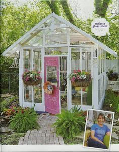 glass garden shed. i bet this would be easy to make with salvage yard scraps. Old Window Greenhouse, Backyard Greenhouse, Small Greenhouse, Garden Sink, Glass Garden, Small Backyard Design, Garden Design, Farm Gardens, Outdoor Gardens