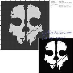 Call Of Duty Ghost logo free videogames cross stitch pattern ...
