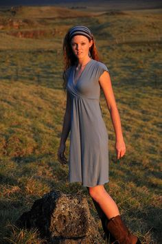Summer Dress Cap Sleeve Bridesmaid Dress Organic Cotton Soy Gray Blue Eco Friendly Sustainable