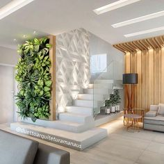 200 Modern indoor plants ideas for home interior decor design 2020 trends Home Stairs Design, Modern House Design, Interior Staircase, Interior Design Living Room, Living Room Designs, Ceiling Design, Home Decor Furniture, Room Decor, Architecture