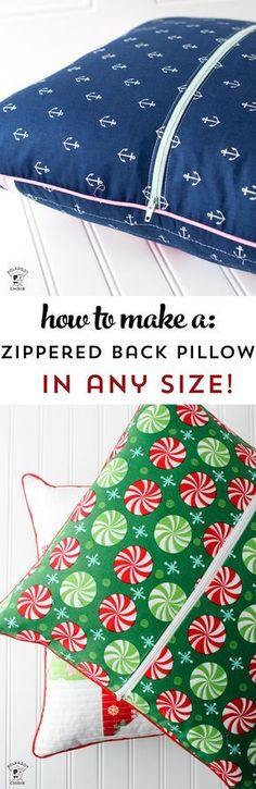 Learn how to add a zipper to the back of a pillow - a free sewing tutorial. So easy, you can do it for any size pillow!