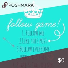 Help me reach my goal! Posh friends, please help me reach my goal of 10,000 followers!! You know the deal, like this post, follow me, follow everyone else who liked this post, then they will follow you back!! Don't forget to share and please Don't forget to tag your PFFs. Thank you everyone!!!! Other