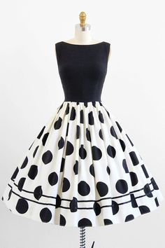 vintage 1950s dress / 50s dress / Black and White Polkadot Rockabilly…