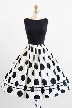 vintage 1950s dress / 50s dress / Black and White Polkadot Rockabilly…