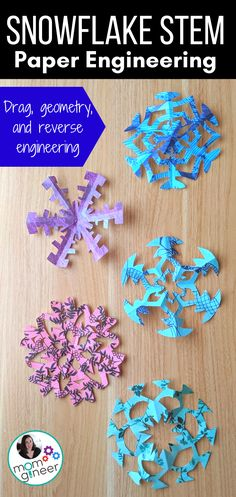 Snowflake STEM Activity - Meredith Anderson - Momgineer / STEM Resources - Snowflake STEM Activity Not your typical snowflake making activity! This STEM challenge integrates engineering understanding (and looks great hanging up, too! Holiday Activities, Stem Activities, Activities For Kids, Outdoor Activities, Science Crafts, Science For Kids, Science Ideas, Earth Science, Science Experiments