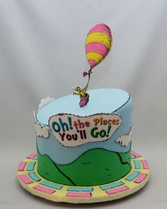 Oh the places you'll Go Baby Shower Cake