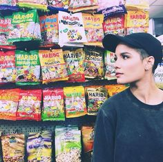 She's slayin' even in a random supermarket surrounded by gummy bears.