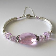Pink crystal bangle bracelet sterling silver rosaline pink, beaded bracelet, beaded jewelry