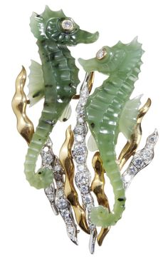 Brooch, carved jade seahorses with diamonds, Aldao